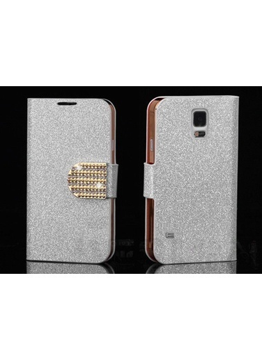 Microsonic Pearl Simli Taşlı Deri Galaxy S5 Kılıf - Beyaz Renkli